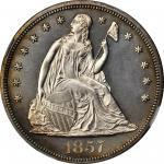 1857 Liberty Seated Silver Dollar. Proof-64 (NGC).