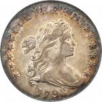 1798 Draped Bust Silver Dollar. Heraldic Eagle. BB-105, B-23. Rarity-3. Pointed 9, Wide Date. AU-53