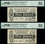 Treasury Series, John Bradbury, first issue 1 (2), ND (7 August 1914), serial number O/1 025872, P/1