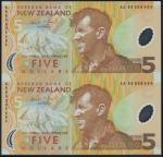 Reserve Bank of New Zealand, uncut pair of $5 (2), ND (1999), serial number AA 99 009494, AA 99 0095