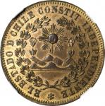 CHILE. Brass Medallic 8 Escudos Pattern. ND (ca. 1840s). NGC PROOF-58.