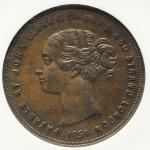 GREAT BRITAIN Victoria ヴィクトリア(1837~1901) Token Penny 1854 NGC-AU55BN EF+