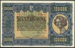 Hungary, Ministry of Finance, 100,000 Korona, 1.5.1923, SPECIMEN, serial number 000 000000, blue, po