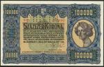 Hungary, Ministry of Finance, 100,000 Korona, 1.5.1923, SPECIMEN, serial number 000 000000, blue, po