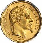 FRANCE. 20 Franc, 1868-A. NGC MS-63.