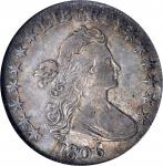 1806 Draped Bust Half Dollar. O-109, T-15. Rarity-1. Pointed 6, Stem Not Through Claw. EF-45 (NGC).