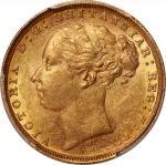 1879-M英国1索维林金币,墨尔本造币厂,含金量0.2354盎司,PCGS MS61