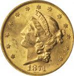 1874-S Liberty Head Double Eagle. MS-62 (PCGS). CAC.