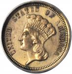 1858 Pattern Gold Dollar. Judd-225, Pollock-269. Rarity-8. Gilt Copper. Reeded Edge. Proof. AU-50 De