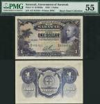 Government of Sarawak, $1, 1 July 1929, serial number A/2 441815, purple on multicolour underprint,