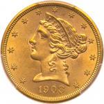 1908 $5 Liberty. PCGS MS63