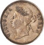 海峡殖民地1891年50分 STRAITS SETTLEMENTS. 50 Cents, 1891. Victoria. PCGS AU-50 Gold Shield.