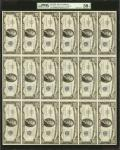 Uncut Sheet of (18) Fr. 1706. 1953 $10 Silver Certificate. PMG Choice About Uncirculated 58 EPQ.