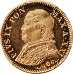 ITALY. Papal States. 5 Lire, 1866-R Year XXI. Rome Mint. Pius IX. PCGS MS-66+ Gold Shield.