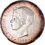 1898年西班牙5比塞塔银币,NGC MS61,币边有包浆