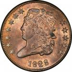 1828 Classic Head Half Cent. Cohen-2, Breen-3. Rarity-1. 12 Stars. Mint State-65 RB (PCGS).