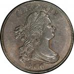 1806 Draped Bust Half Cent. Cohen-2, Breen-1. Rarity-4. Small 6, Stems. Mint State-64 BN (PCGS).