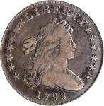 1798 Draped Bust Silver Dollar. Heraldic Eagle. BB-105, B-23. Rarity-3. Pointed 9, Wide Date. Fine-1