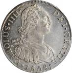 PERU. 8 Reales, 1808-LIMA JP. Lima Mint. Charles IV. PCGS MS-61 Gold Shield.