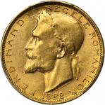 ROMANIA. 20 Lei, 1922. London Mint. PCGS MS-63 Secure Holder.