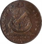 1787 Fugio Copper. Pointed Rays. Newman 13-X, W-6855. Rarity-2. STATES UNITED, 4 Cinquefoils. AU-58
