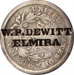 W.P. DEWITT / ELMIRA. on an 1840 Seated Half Dime. Brunk D-330. Host Coin Very Good to Fine.