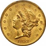 1853 Liberty Head Double Eagle. Breen-7160. Repunched Date. MS-61 (PCGS). CAC.