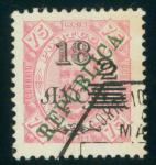 Macao  Stamp  1913 Macau Carlos 2a on 18a on 75r, with double second surcharge variety, used