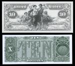 $10 1897 Silver Certificate Uniface Front. From a souvenir card. Also included is a $10 Legal Tender