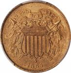 1864 Two-Cent Piece. Large Motto. Proof-63 RB (PCGS).