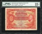 Government of Sarawak, $10, 1.7.1929, serial number C/1 155874, (Pick 16), PMG 25NET Very Fine (Spli