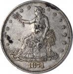 1874 Trade Dollar--Chopmark--EF-45 (PCGS).