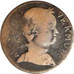 1786 Vermont Copper. RR-9, Bressett 7-F, W-2040. Rarity-4. Baby Head. Fine-12. Countermarked JB.