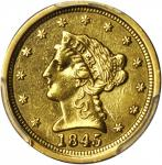 1845-O Liberty Head Quarter Eagle. Winter-1, the only known dies. EF Details--Cleaned (PCGS).