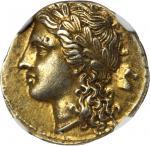SICILY. Syracuse. Agathocles, 317-289 B.C. EL 50 Litrae (3.63 gms), ca. 310-305 B.C.