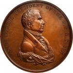 1817 James Monroe Indian Peace Medal. Bronze. 76 mm. Julian IP-8. First Reverse. MS-64BN (NGC).