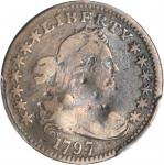 1797 Draped Bust Half Dime. LM-4. Rarity-6. 13 Stars. Fine Details--Damage (PCGS).