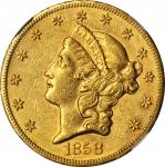 1858-S Liberty Head Double Eagle. AU-53 (NGC).