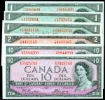 CANADA. Bank of Canada. 1, 2 & 10 Dollars, 1954. P-Various. About Uncirculated.