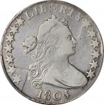 1805/4 Draped Bust Half Dollar. O-103a, T-11. Rarity-5+. VF Details--Edge Damaged (PCGS).