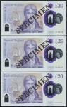 Bank of England, Sarah John, polymer £20, ND (20 February 2020), serial number AA01 000089/90/91, pu