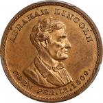 1860 Abraham Lincoln Medal. DeWitt-AL 1860-38, Cunningham 1-490C, King-35. Copper. 31 mm. MS-64 RB (