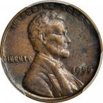 1955 Lincoln Cent. Doubled Die Obverse. AU Details--Environmental Damage (PCGS). Gold Shield Holder.