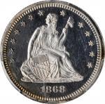 1868 Liberty Seated Quarter. Proof-62 Cameo (PCGS).