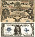 Mixed Large Size Lot of (4) Notes. Fr. 237* $1 Silver Certificate. Fr. 85 $5 Legal Tender Note. Fr.