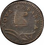 1786 New Jersey copper. Maris 23-R. Rarity-3. Narrow Shield, Curved Plow Beam. Counterstamped (bird