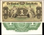 CANADA. Bank of Nova Scotia. 1 Pound, 1900. P-S131p. Face & Back Proof. Uncirculated.