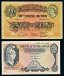 1956年英属东非纸币一磅一枚;英国银行纸币五磅一枚,八成至八五成新