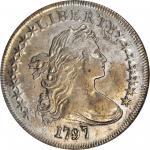1797 Draped Bust Silver Dollar. BB-73, B-1b. Rarity-3. Stars 9x7, Large Letters. AU-50 (NGC).