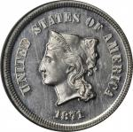 1871 Pattern Five Cents. Judd-1050, Pollock-1184. Rarity-6-. Nickel. Plain Edge. Proof-66 (NGC).